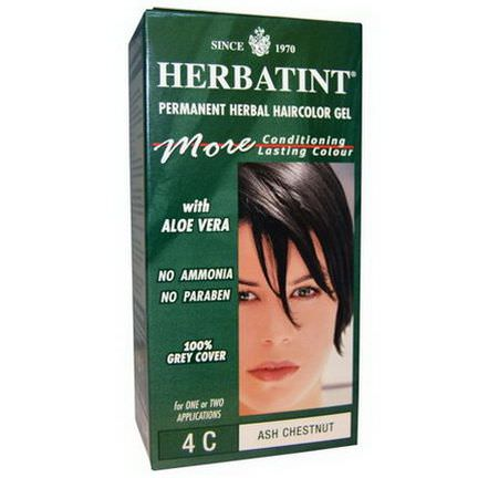 Herbatint, Permanent Herbal Haircolor Gel, 4C, Ash Chestnut 135ml