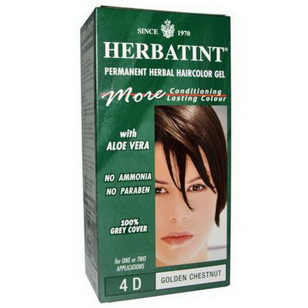 Herbatint, Permanent Herbal Haircolor Gel, 4D Golden Chestnut 135ml
