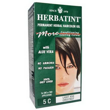 Herbatint, Permanent Herbal Haircolor Gel, 5C, Light Ash Chestnut 135ml
