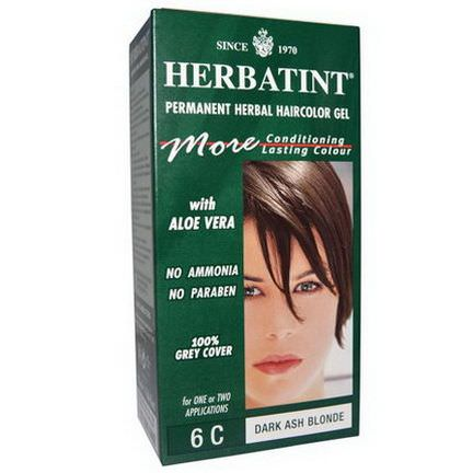 Herbatint, Permanent Herbal Haircolor Gel, 6C, Dark Ash Blonde 135ml