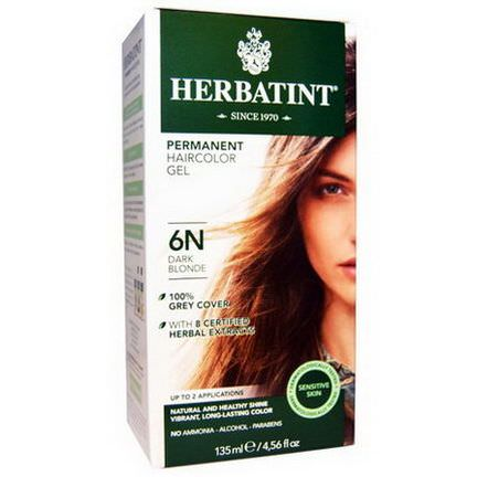 Herbatint, Permanent Herbal Haircolor Gel, 6N, Dark Blonde 135ml