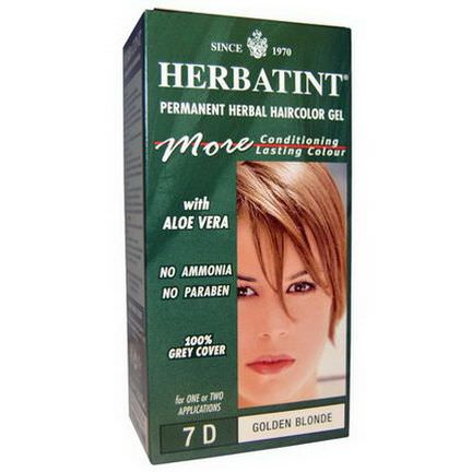 Herbatint, Permanent Herbal Haircolor Gel, 7D, Golden Blonde 135ml