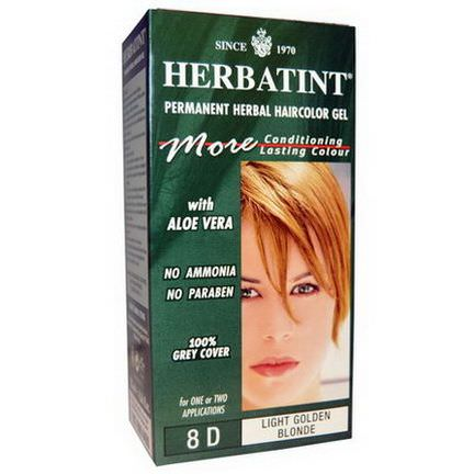 Herbatint, Permanent Herbal Haircolor Gel, 8D, Light Golden Blonde 135ml