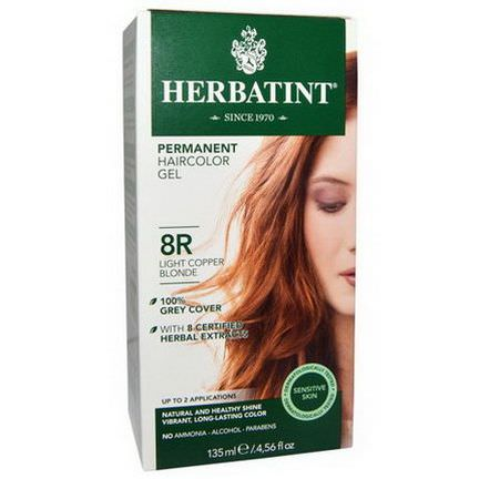 Herbatint, Permanent Haircolor Gel, 8R, Light Copper Blonde 135ml