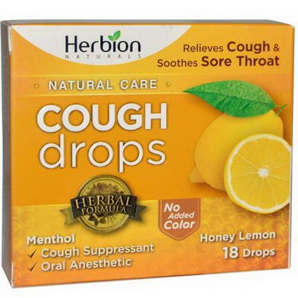 Herbion, Natural Care Cough Drops, Honey Lemon, 18 Drops