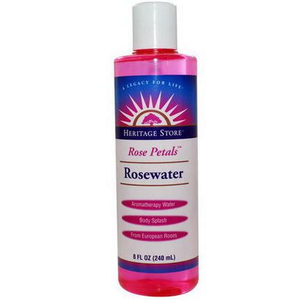 Heritage Products, Rosewater, Rose Petals 240ml
