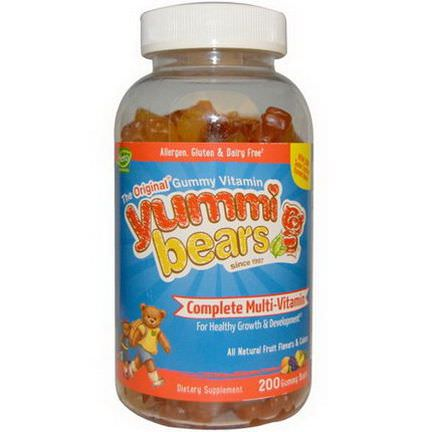 Hero Nutritional Products, Yummi Bears, Complete Multi-Vitamin, All Natural Fruit Flavors&Colors, 200 Gummy Bears