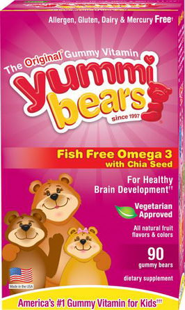 Hero Nutritional Products, Yummi Bears, Fish Free Omega 3 with Chia Seed, All Natural Fruit Flavors, 90 Gummy Bears