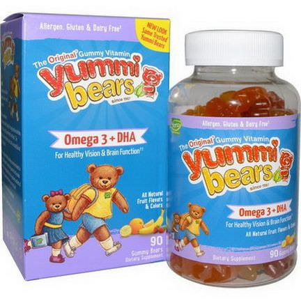 Hero Nutritional Products, Yummi Bears, Omega-3 DHA, Natural Fruit Flavors, 90 Gummy Bears