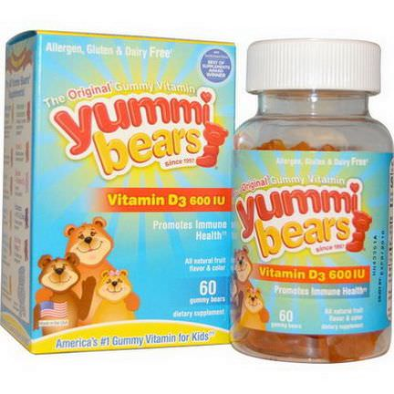 Hero Nutritional Products, Yummi Bears, Vitamin D3, 600 IU, 60 Gummy Bears