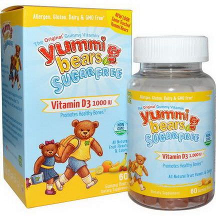 Hero Nutritional Products, Yummi Bears, Vitamin D3, Sugar Free, Fruit Flavors, 1000 IU, 60 Gummy Bears