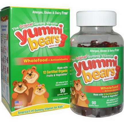 Hero Nutritional Products, Yummi Bears, Wholefood Antioxidants, Fruit Flavors, 90 Gummy Bears