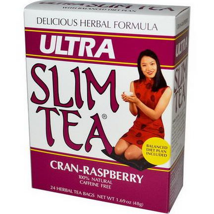 Hobe Labs, Ultra Slim Tea, Cran-Raspberry, Caffeine Free, 24 Herbal Tea Bags 48g