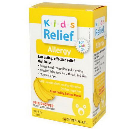 Homeolab USA, Kids Relief, Allergy for Kids 2+, Banana Flavor 25ml