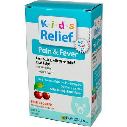 Homeolab USA, Kids Relief, Pain&Fever for Kids 2+, Cherry Flavor 25ml