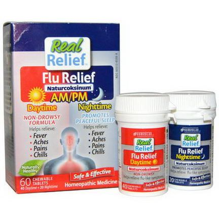 Homeolab USA, Real Relief, Flu Relief, Naturcoksinum, AM/PM, 60 Chewable Tablets