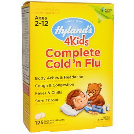 Hyland's, 4Kids Complete Cold'n Flu, Ages 2-12, 125 Quick-Dissolving Tablets