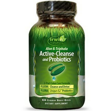 Irwin Naturals, Aloe&Triphala Active-Cleanse and Probiotics, 60 Liquid Soft-Gels