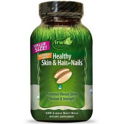 Irwin Naturals, Healthy Skin&Hair Plus Nails, 120 Liquid Soft-Gels