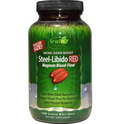 Irwin Naturals, Steel-Libido Red, Magnum Blood-Flow, 150 Liquid Soft-Gels