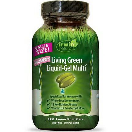Irwin Naturals, Women's Living Green Liquid-Gel Multi, 120 Liquid Soft-Gels