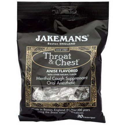 Jakemans, Throat&Chest, Anise Flavored, 30 Lozenges