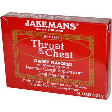 Jakemans, Throat&Chest, Cherry Flavored, 24 Lozenges