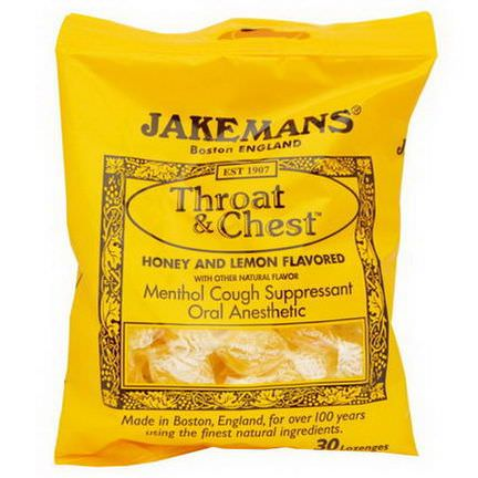 Jakemans, Throat&Chest, Honey and Lemon Flavored, 30 Lozenges
