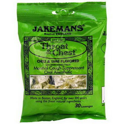 Jakemans, Throat&Chest, Menthol Cough Suppressant, Chili&Lime Flavored, 30 Lozenges