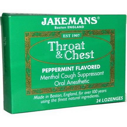 Jakemans, Throat&Chest, Peppermint Flavored, 24 Lozenges