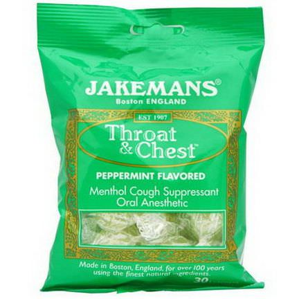 Jakemans, Throat&Chest, Peppermint Flavored, 30 Lozenges