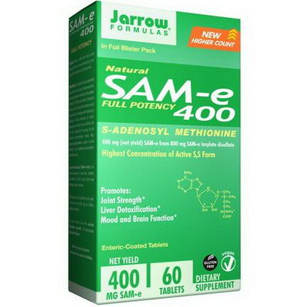 Jarrow Formulas, SAM-e 400, 60 Tablets