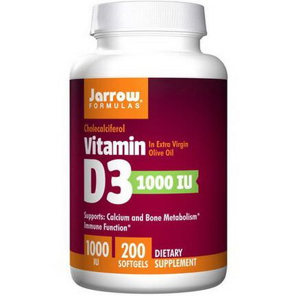 Jarrow Formulas, Vitamin D3, Cholecalciferol, 1000 IU, 200 Softgels