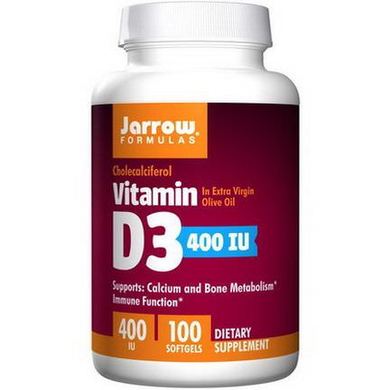 Jarrow Formulas, Vitamin D3, Cholecalciferol, 400 IU, 100 Softgels