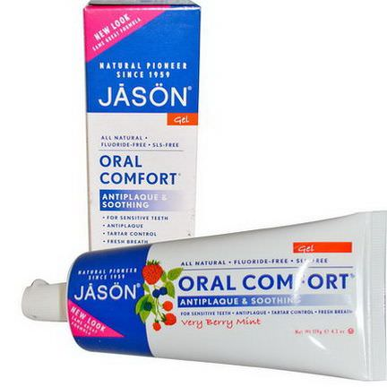 Jason Natural, Oral Comfort, Antiplaque&Soothing Tooth Gel, Very Berry Mint 119g