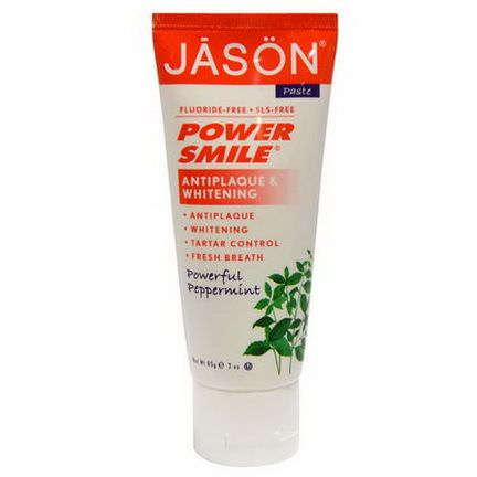 Jason Natural, Power Smile, Antiplaque&Whitening Toothpaste, Powerful Peppermint 85g