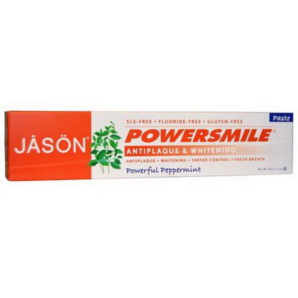Jason Natural, PowerSmile, Antiplaque&Whitening Paste, Powerful Peppermint 170g