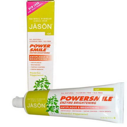 Jason Natural, PowerSmile, Enzyme Brightening, Gel, Powerful Peppermint 119g