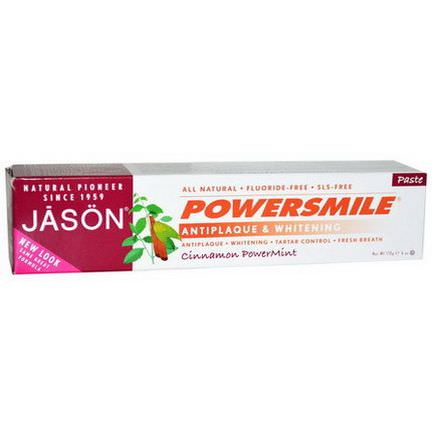 Jason Natural, Powersmile, Antiplaque&Whitening Toothpaste, Cinnamon PowerMint 170g