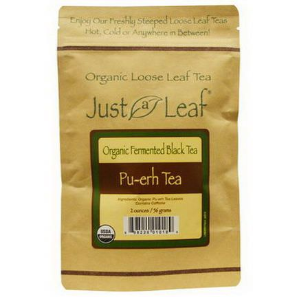 Just a Leaf Organic Tea, Fermented Black Tea, Pu-erh Tea 56g