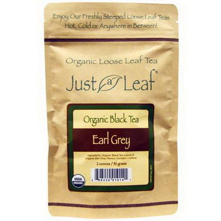 Just a Leaf Organic Tea, Black Tea, Earl Grey Loose Leaf Tea 56g