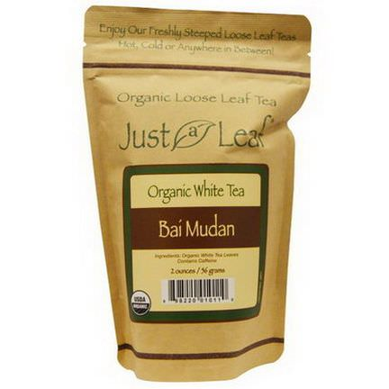 Just a Leaf Organic Tea, White Tea, Bai Mudan Loose Leaf Tea 56g