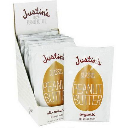 Justin's Nut Butter, Classic Peanut Butter, 10 Squeeze Packs 32g Per Pack