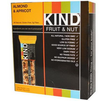 KIND Bars, Fruit&Nut Bars, Almond&Apricot, 12 Bars 40g Each