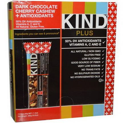 KIND Bars, Kind Plus, Dark Chocolate Cherry Cashew Antioxidants, 12 Bars 40g Each