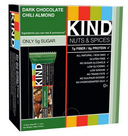 KIND Bars, Nuts&Spices, Dark Chocolate Chili Almond, 12 Bars 40g Each