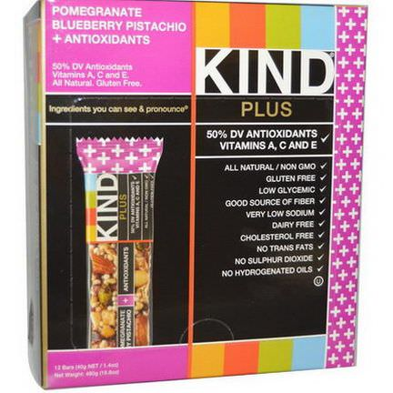 KIND Bars, Plus Bars, Pomegranate Blueberry Pistachio Antioxidants, 12 Bars 40g Each