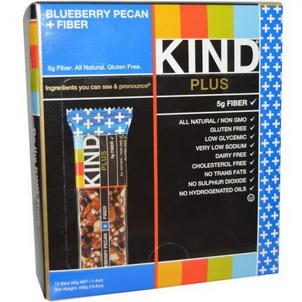 KIND Bars, Plus, Blueberry Pecan Fiber, 12 Bars 40g Each