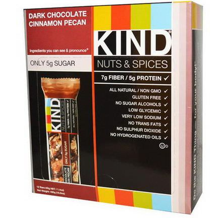 KIND Bars, Nuts&Spices, Dark Chocolate Cinnamon Pecan, 12 Bars 40g