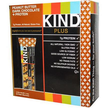 KIND Bars, Plus, Fruit&Nut Bars, Peanut Butter Dark Chocolate Protein, 12 Bars 40g Each